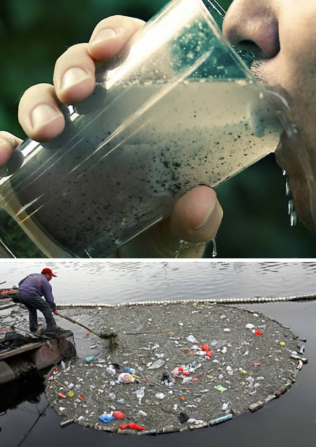 People Drinking Polluted Water
